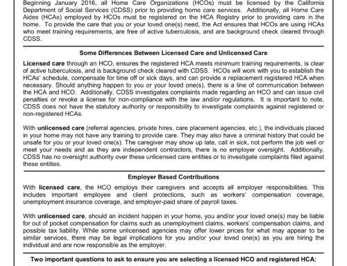 Licensed Versus Unlicensed Home Care